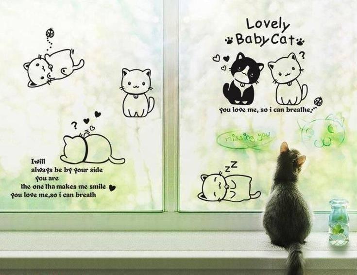 """สติ๊กเกอร์ติดผนังขนาดใหญ่ """"แมว Lovely BabyCat"""""""