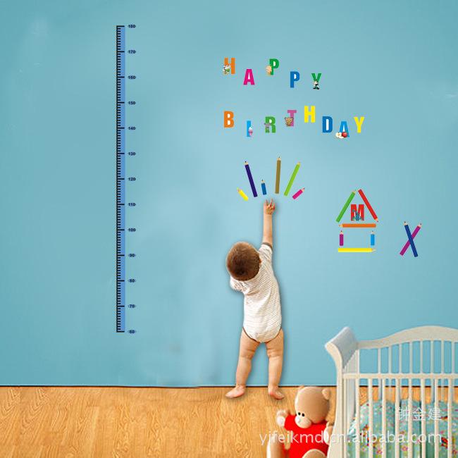 """สติ๊กเกอร์ติดผนังตกแต่งบ้าน """"ที่วัดส่วนสูง Cute Alphabet"""" สเกลเริ่มต้น 60 cm ถึง 180 cm"""