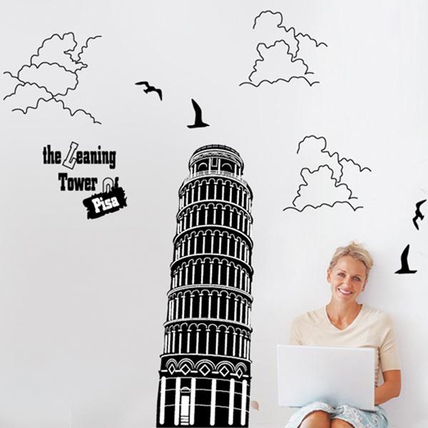 """สติ๊กเกอร์ตกแต่งผนังเมืองท่องเที่ยว """"Pisa Tower"""" ความสูง 130 cm กว้าง 120 cm"""