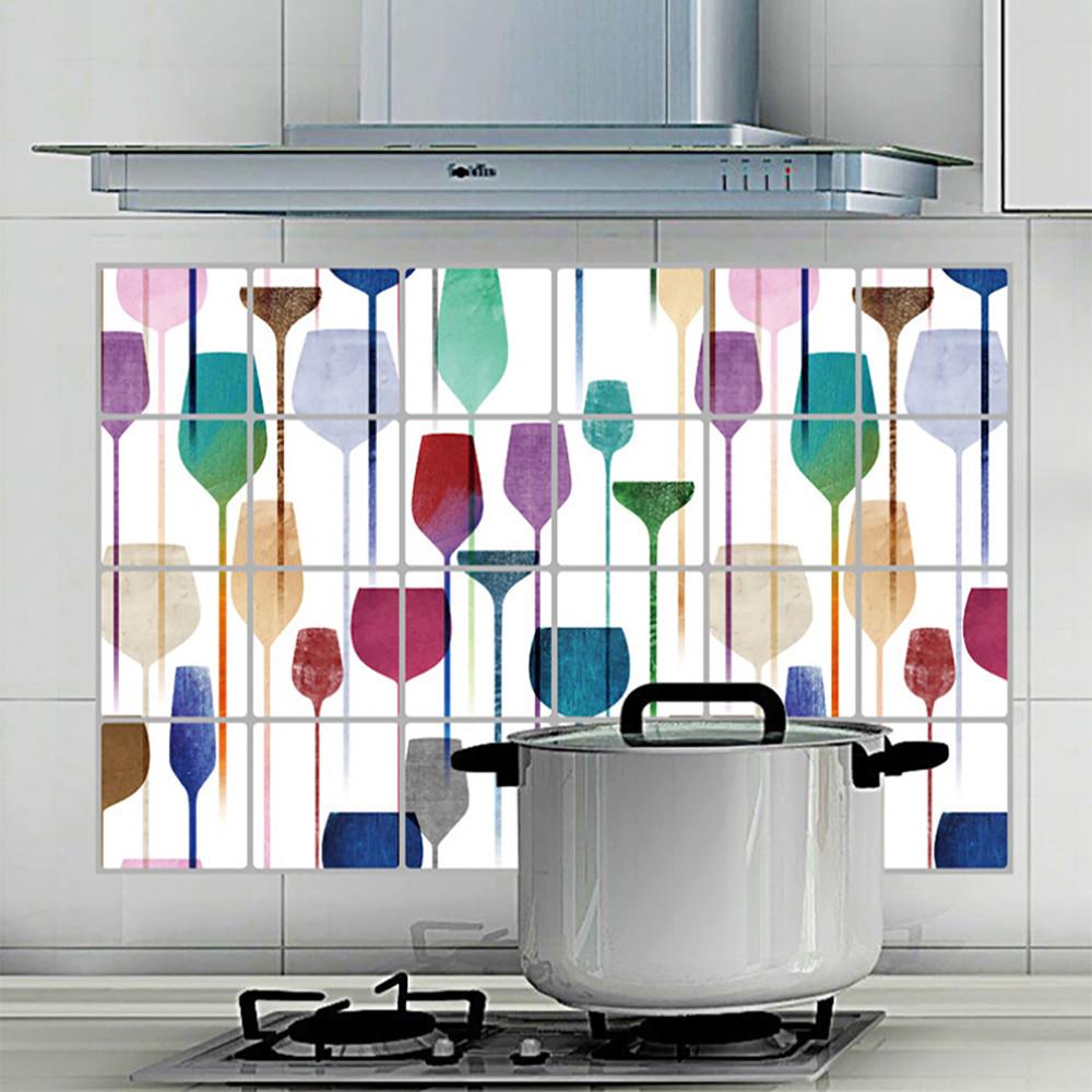 """สติ๊กเกอร์ติดครัวกันน้ำมันกระเด็น Color Bottom"""" ขนาด 60 cm x 90 cm"""