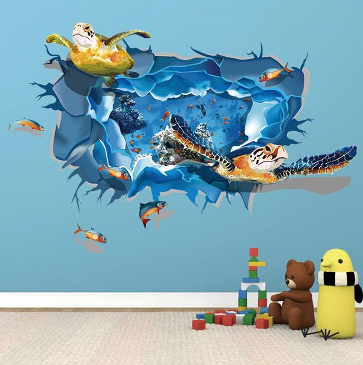 """สติ๊กเกอร์ติดผนัง 3D """"เต่าทะเล"""" ความสูง 70 cm กว้าง 110 cm"""