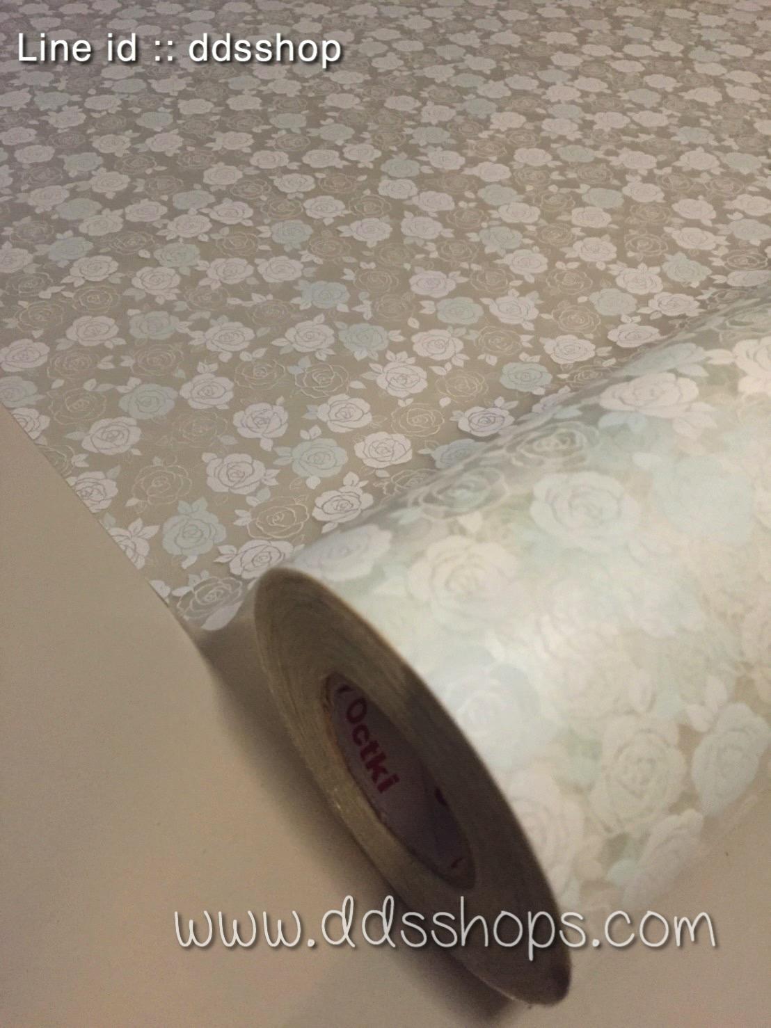 """สติ๊กเกอร์ติดกระจกแบบมีกาวในตัว """"White and Pastel Green Roses"""" ความสูง 90 cm ตัดแบ่งขายเมตรละ 189 บาท (ขั้นต่ำ 3m)"""