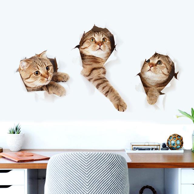 """สติ๊กเกอร์ติดผนังตกแต่งบ้าน """"CAT"""" ความสูง 40 cm กว้าง 73 cm"""