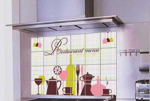 """สติ๊กเกอร์ติดครัวกันน้ำมันกระเด็น """"Restaurant Menu"""" ขนาด 60 cm x 90 cm"""