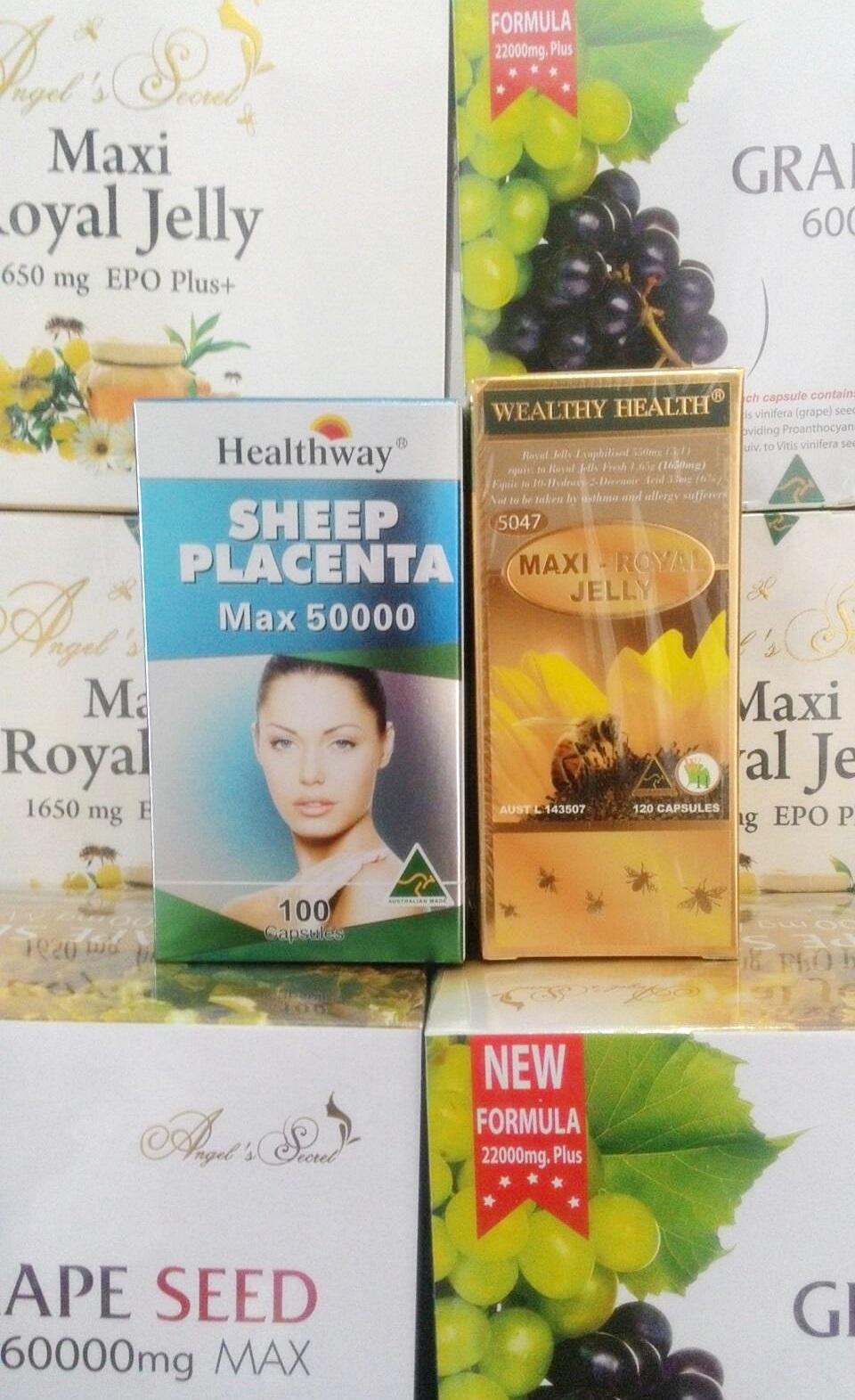 รกแกะ healthway 50,000 mg.max 1 ขวด 100 เม็ด +นมผึ้งwealthy health maxi6 1 ขวด 120 เม็ด ทานบำรุงผิวพรรณขาวใส อ่อนเยาว์ และสุขภาพดีด้วย