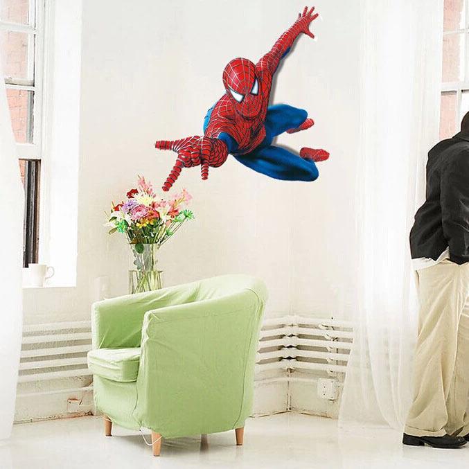 """สติ๊กเกอร์ติดผนัง ตกแต่งห้องเด็ก """"Spider Man"""" ความสูง 90 cm กว้าง 110 cm"""