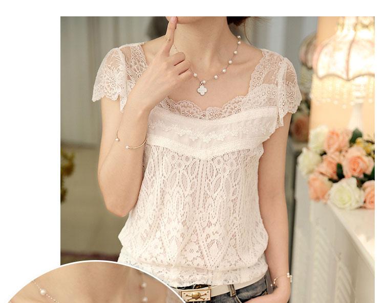 เสื้อแฟชั่นเกาหลีคอวีเสื้อแขนสั้นสีขาวเสื้อลูกไม้