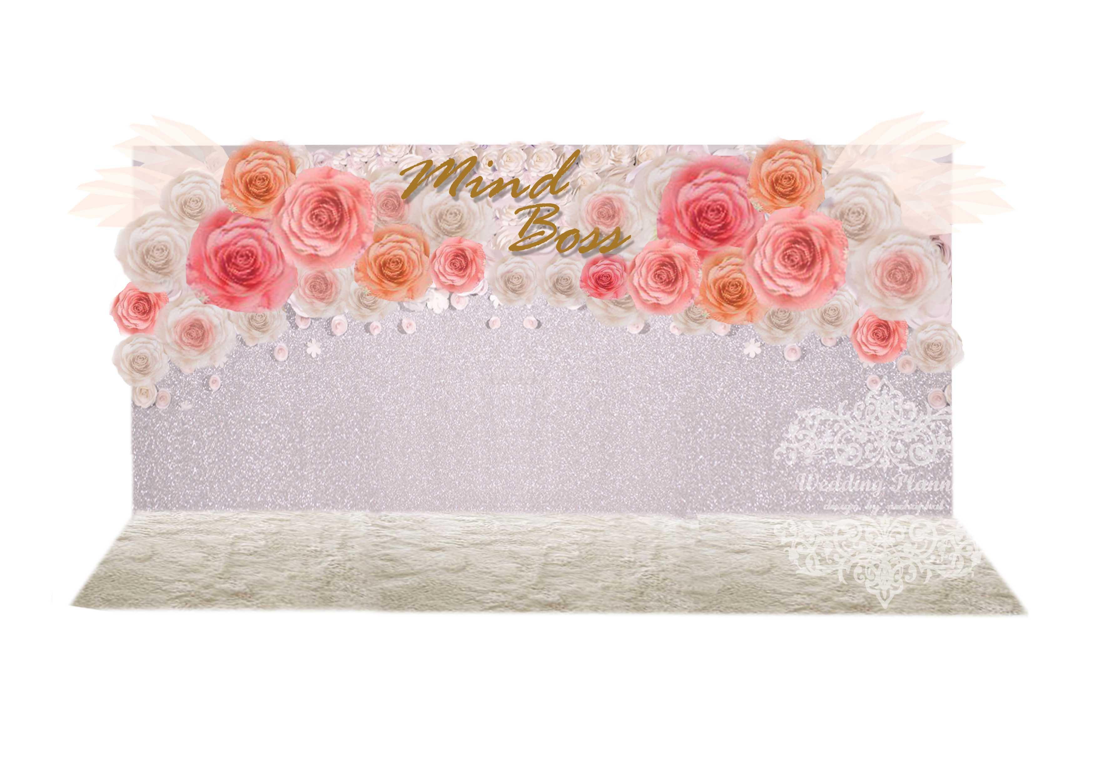 package photo backdropดอกไม้กระดาษ เช่าฉากถ่ายภาพงานแต่งงานโทนชมพู ยาว3.60เมตร