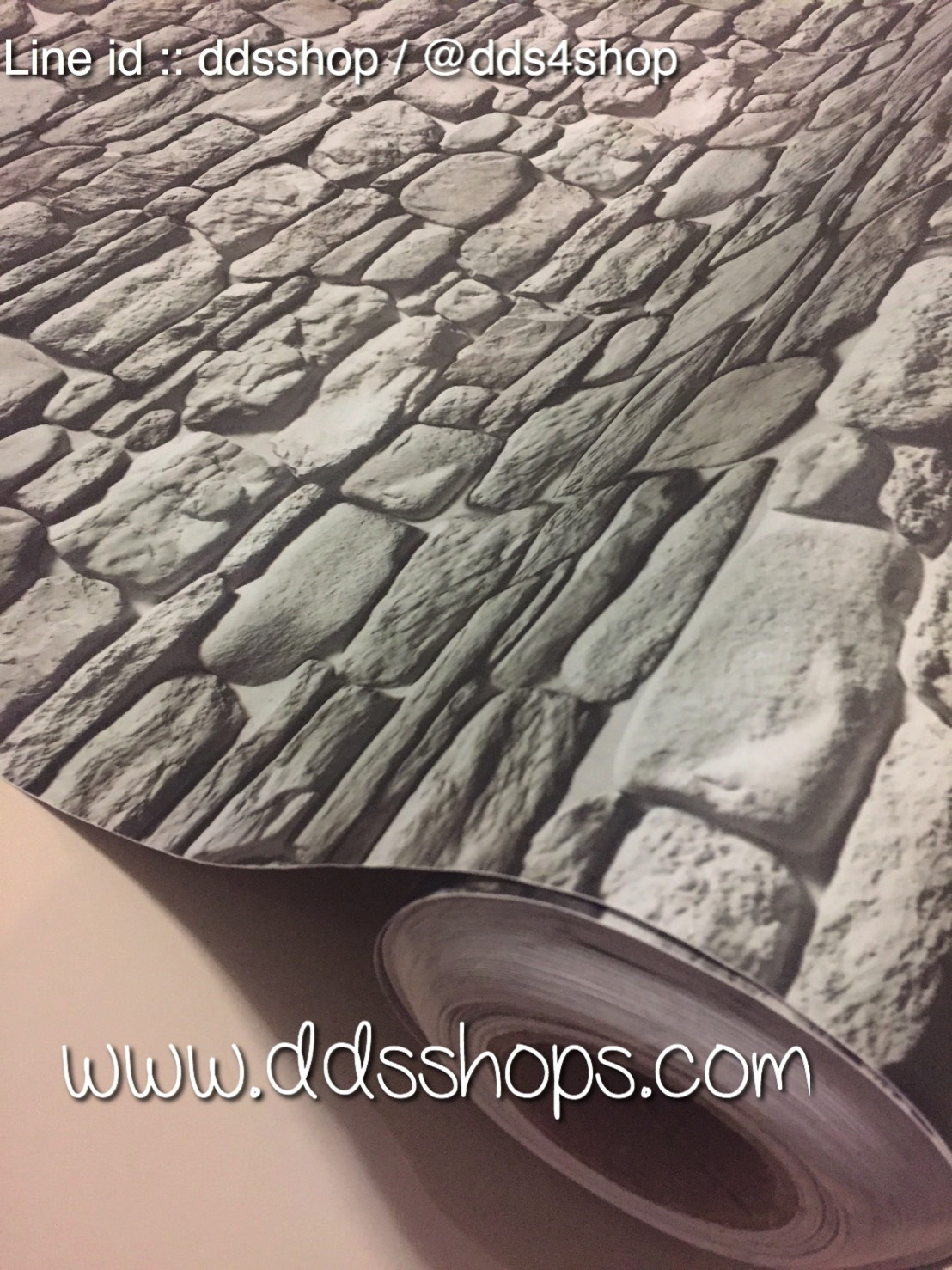 "Wallpaper Sticker วอลล์เปเปอร์แบบมีกาวในตัว ""ลายหินสีเทาดำ"" หน้ากว้าง 1.22m ตัดขายตามความยาว เมตรละ 250 บาท"