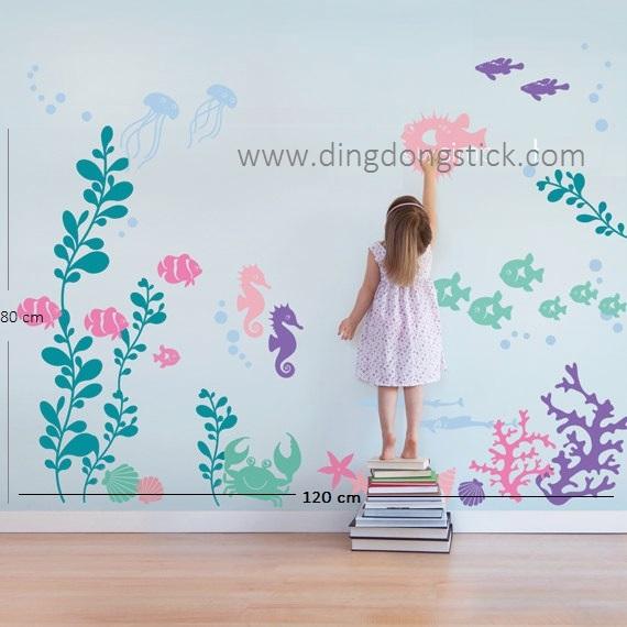 """สติ๊กเกอร์ตกแต่งผนัง สัตว์ต่าง ๆ """"Under The Sea with Pastel"""" ความสูง 80 cm ความกว้าง 120 cm"""