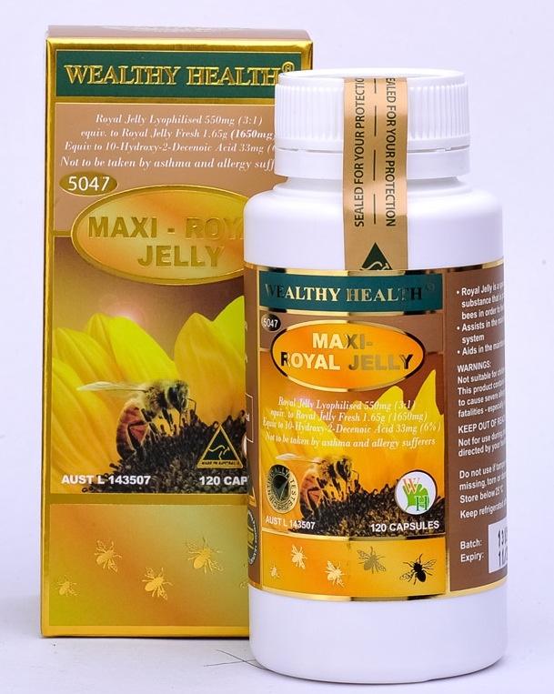 (นมผึ้งที่ทานดีที่สุดค่ะ) wealthy health royal jelly 1650 mg 6%10HDA (ตัวนี้เห็นผลดีที่สุด) นมผึ้งจากออสเตรเลีย เข้มข้นที่สุด ขนาด 120 แค็ปซูล