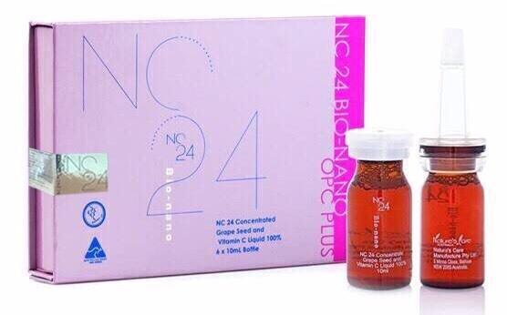 NC24 Grape Seed (With Vitamin C) เซรั่มเมล็ดองุ่นและวิตามินซีสูตรเข้มข้นเพื่อหน้าขาวลบริ้วรอย 1 กล่อง บรรจุ 6 ขวด