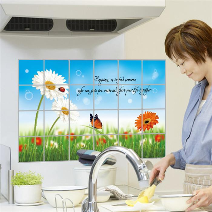 """สติ๊กเกอร์ติดครัวกันน้ำมันกระเด็น """"Green Grass Daisy"""" ขนาด 60 cm x 90 cm"""
