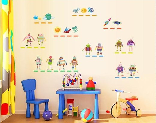 "Wall Sticker สติ๊กเกอร์ติดผนังตกแต่งห้องเด็ก ""Robot หุ่นยนต์"" ความสูง 90 cm กว้าง 60 cm"