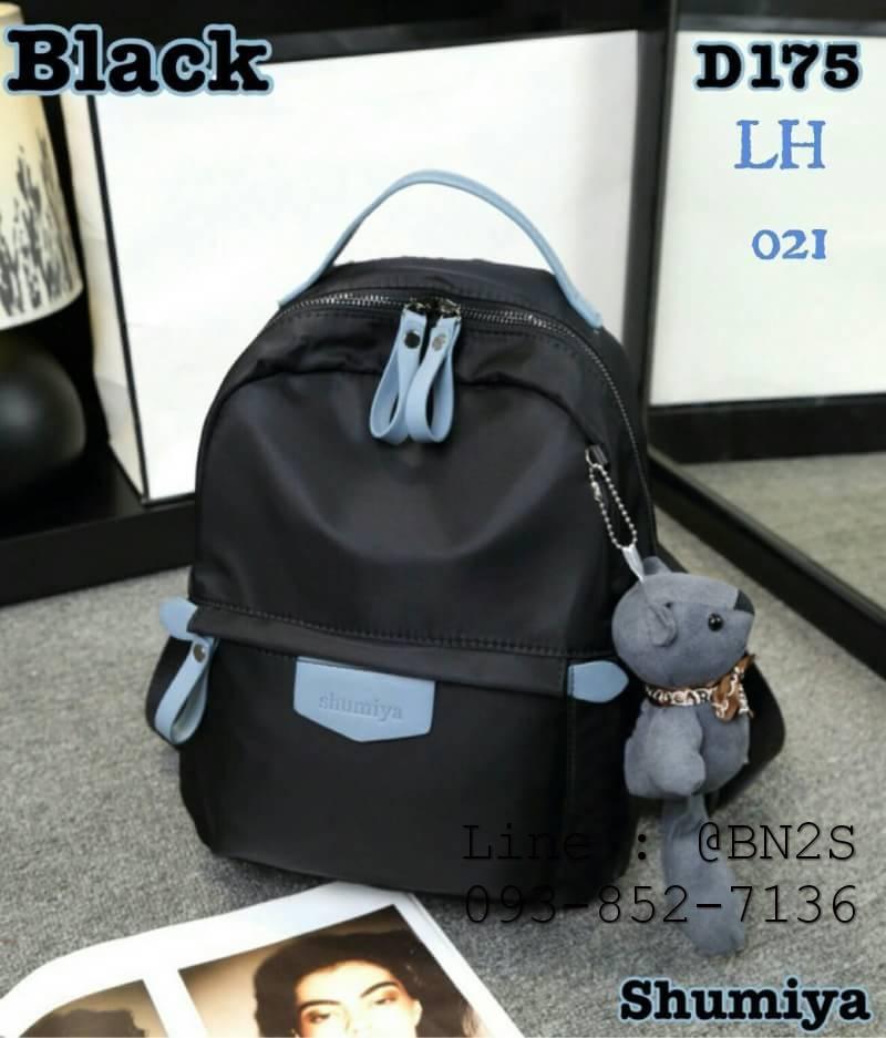 Shumiya กระเป๋าเป้ใบมินิ ทรง Palm Spring ฟรีตุ๊กตาหมีห้อย สีดำ
