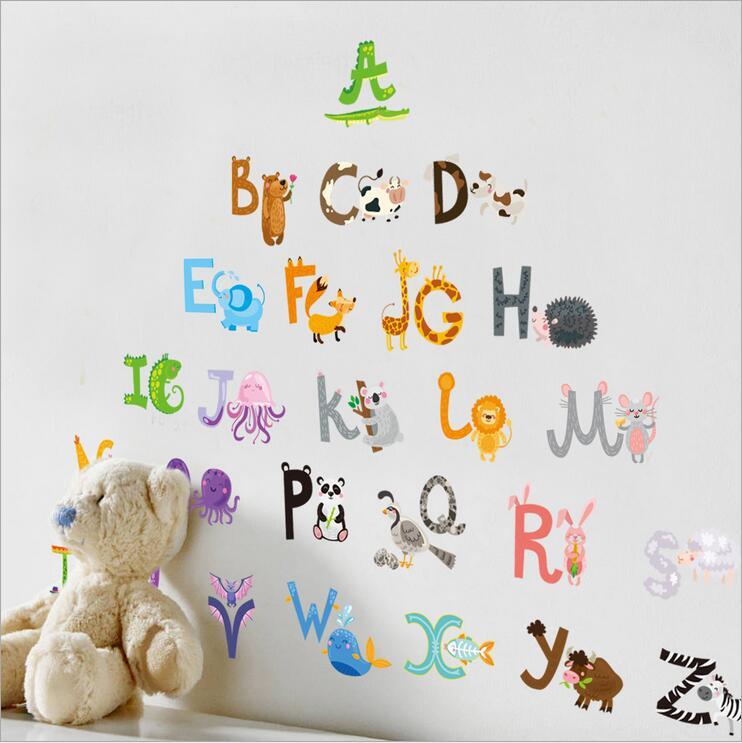 """สติ๊กเกอร์ติดผนังตกแต่งบ้าน """"Sweet Alphabet ABC"""" ความสูง 100 cm ความยาว 140 cm"""