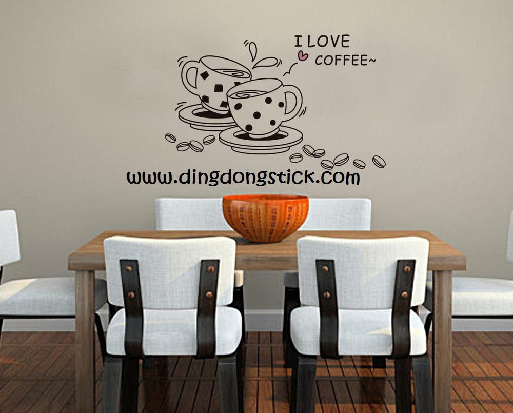 "Transparent Wall Sticker ""Lovely Cup"" ความสูง 60 cm ความกว้าง 100 cm"