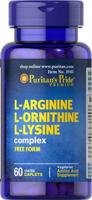เสริมสร้างกล้ามเนื้อ Puritan's Pride L-Arginine L-Ornithine L-Lysine 60 เม็ด