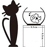 """สติ๊กเกอร์ติดปลั๊กไฟ """"แมวกับขวดโหล""""ขนาดซองบรรจุ 16 x 18 cm"""