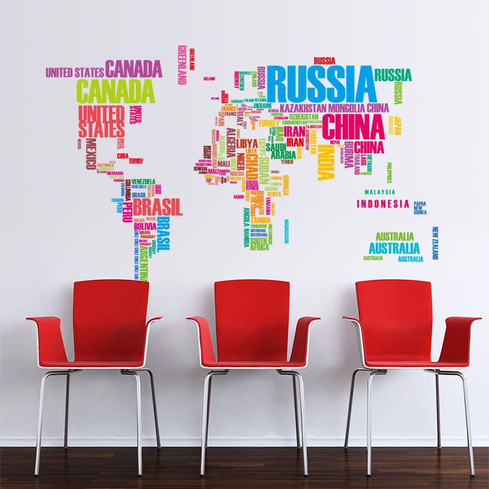 """สติ๊กเกอร์ติดผนัง หมวดแผนที่ """"แผนที่ Color of Map"""" ความสูง 74 cm กว้าง 122 cm"""