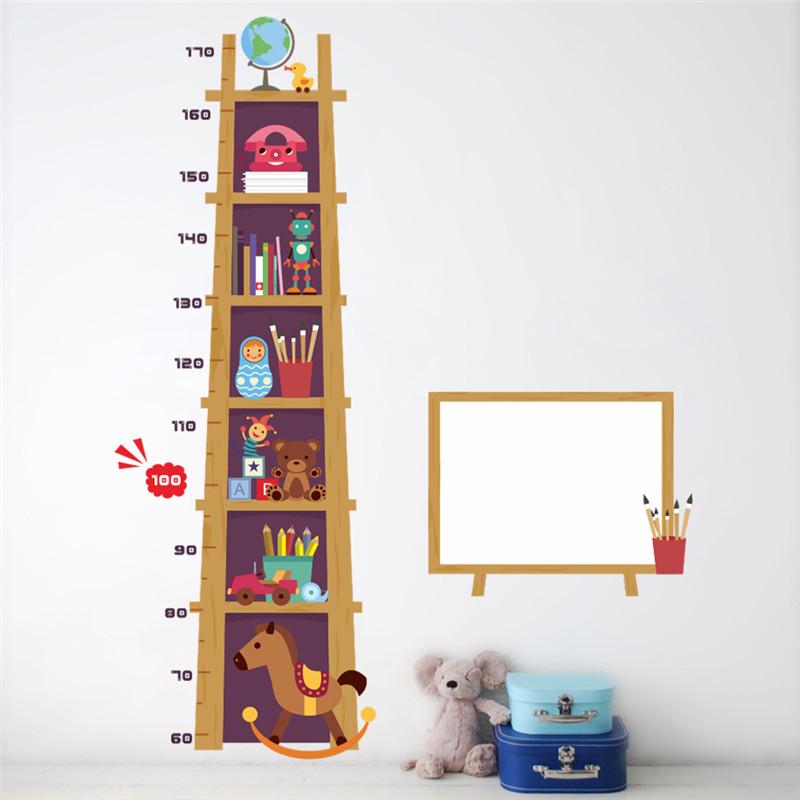 """สติ๊กเกอร์ติดผนังตกแต่งบ้าน """"ที่วัดส่วนสูงชั้นหนังสือ"""" สเกลเริ่มต้น 60cm ถึง 170 cm"""