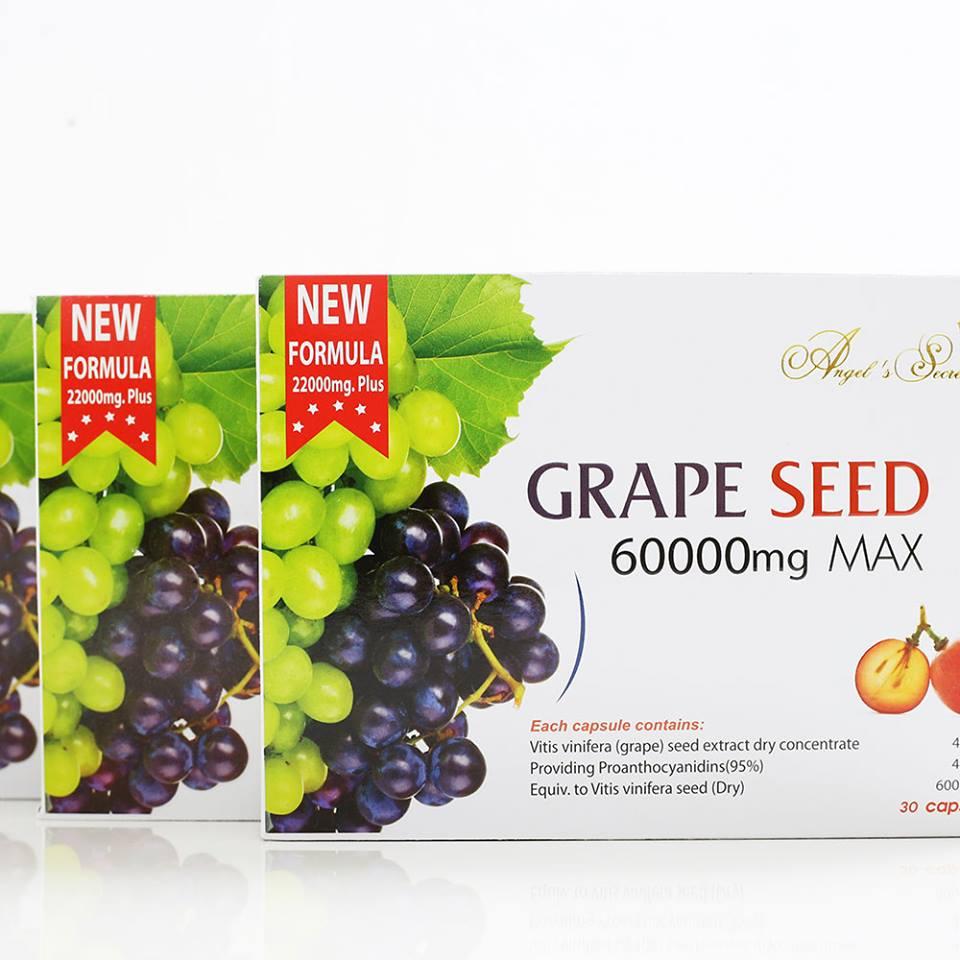 ( 2 กล่องเล็ 60 เม็ด) Grape Seed Extract 60,000 mg สารสกัดจากเมล็ดองุ่นเข้มข้นที่สุด บำรุงผิวให้ขาวกระจ่างใส ลดเส้นเลือดขอด จากออสเตรเลีย