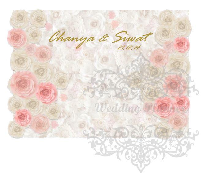 package backdrop ดอกไม้กระดาษสำหรับจัดฉากงานแต่งงานขนาด2.4*2.4
