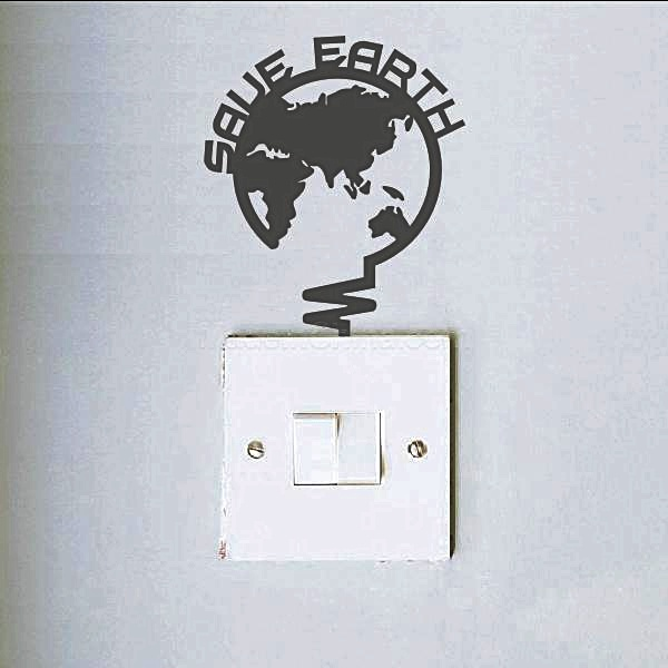 """สติ๊กเกอร์ติดปลั๊กไฟ """"Save Earth สีดำ"""" ขนาดซองบรรจุ 15 x 12 cm"""