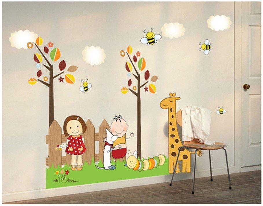 """สติ๊กเกอร์ติดผนัง สำหรับห้องเด็ก """"Children and Animal"""" ความสูง 70 cm กว้าง 110 cm"""