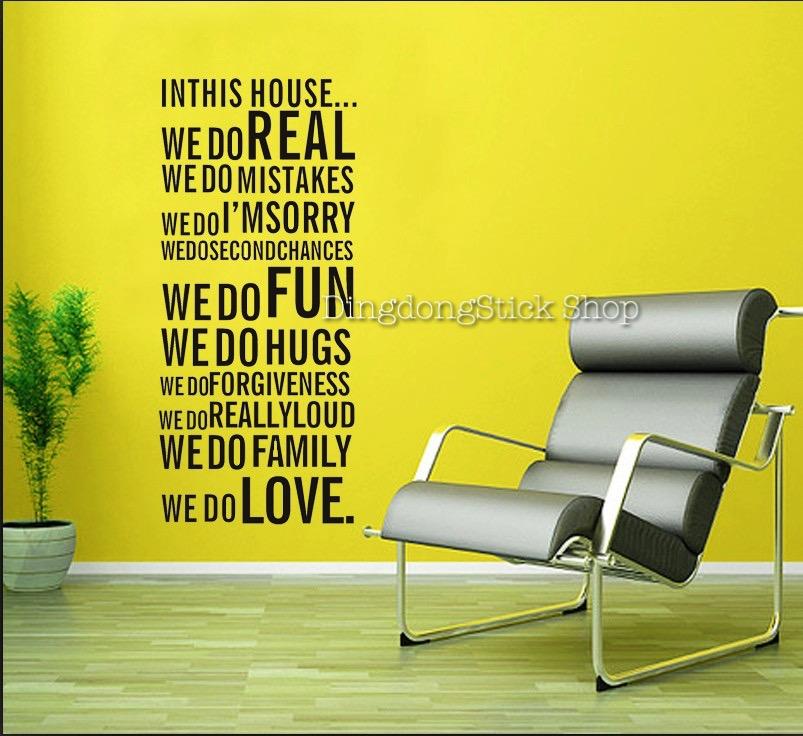 """สติ๊กเกอร์ตกแต่งคำพูด ความหมายดี """"In This House"""" ความกว้าง 60 cm สูง 110 cm"""