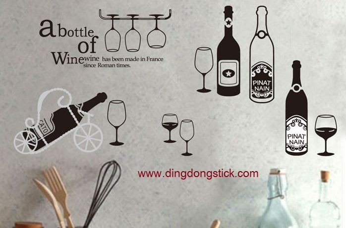 """Transparent Wall Sticker """"abount of wine"""" ความสูง 70 cm ความกว้าง 140 cm"""