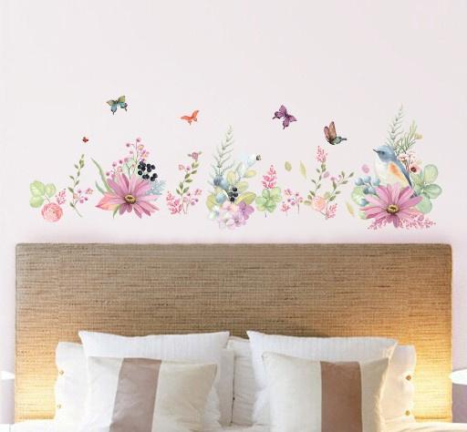 """สติ๊กเกอร์ติดผนัง """"Drawing Flowers"""" ความสูง 55 cm ยาว 170 cm"""