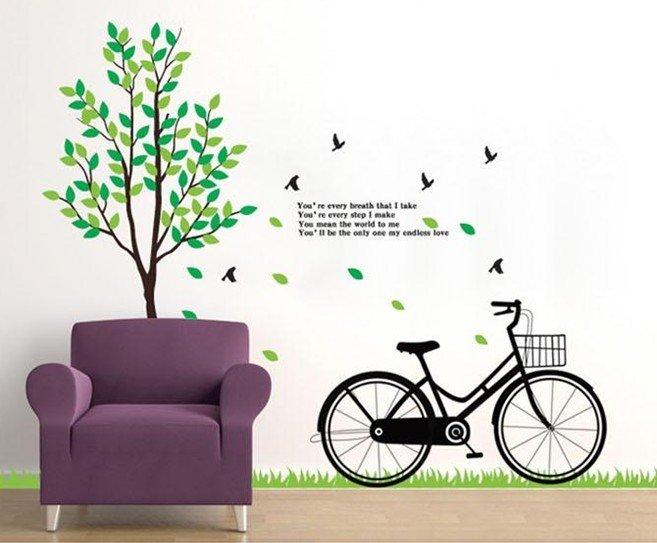 "Big Size สติ๊กเกอร์ติดผนังตกแต่งบ้าน ""Big Green Tree and Bicycle"" ขนาดสูง 180 cm กว้าง 200 cm"