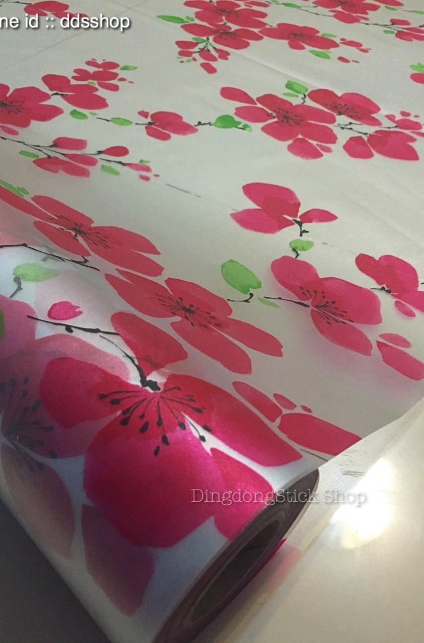 """สติ๊กเกอร์ติดกระจกแบบมีกาวในตัว """"Red Flower"""" หน้ากว้าง 90 cm ตัดแบ่งขายเมตรละ 179 บาท (ขั้นต่ำ 3m)"""