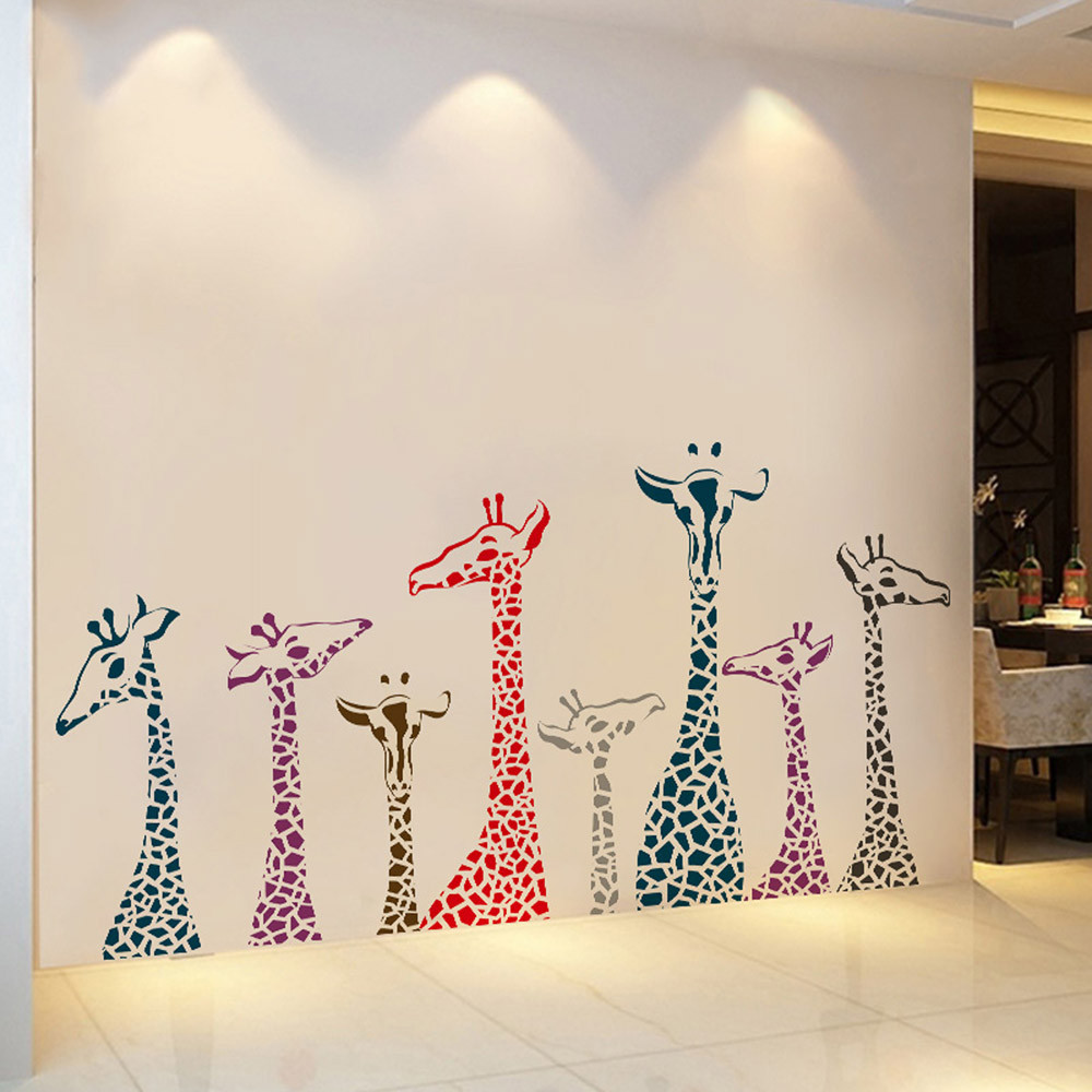 """สติ๊กเกอร์ติดผนังตกแต่งบ้าน """"Giraffe"""" ความสูง 70 cm ยาว 140 cm"""