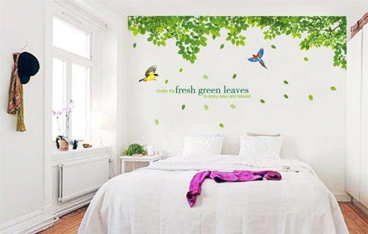 """สติ๊กเกอร์ติดผนัง ตกแต่งบ้าน Wall Sticker ขนาดใหญ่ """"Fresh Green Leaf"""" ความสูง 58 cm กว้าง 320 cm"""
