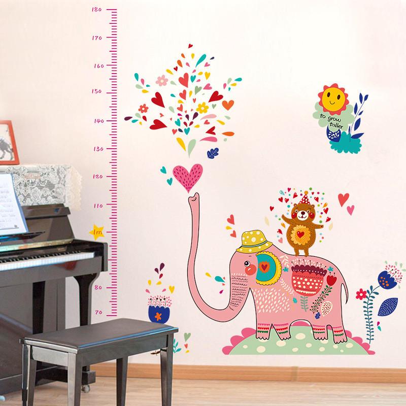 """สติ๊กเกอร์ติดผนังตกแต่งบ้าน """"ที่วัดส่วนสูงช้างสีชมพู"""" สเกลเริ่มต้น 70 cm ถึง 180 cm"""