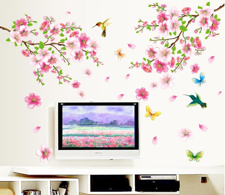 """วอลล์สติ๊กเกอร์ตกแต่งผนัง หมวดต้นไม้ """"Pink Plum Blossom"""" ความสูง 120 cm กว้าง 110 cm"""