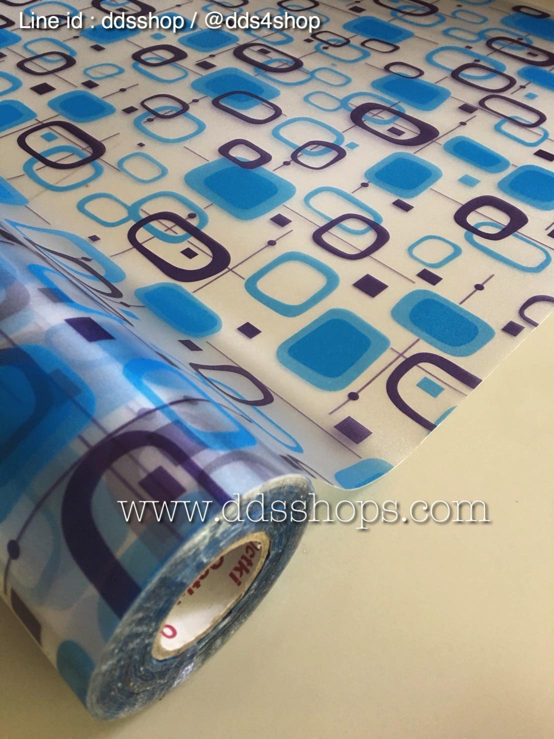 """สติ๊กเกอร์ติดกระจกแบบมีกาวในตัว """"Modern Blue Shape"""" ความสูง 90 cm ตัดแบ่งขายเมตรละ 189 บาท (ขั้นต่ำ 3m)"""