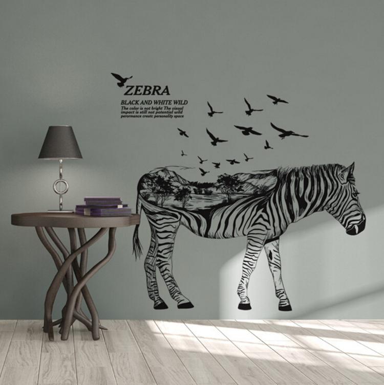 """สติ๊กเกอร์ติดผนังตกแต่งบ้าน """"ม้าลาย Zebra Black and White Wild"""" ความสูง 110 cm ความกว้าง 120 cm"""