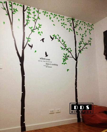 "Big Size สติ๊กเกอร์ติดผนังตกแต่งบ้าน ""ต้นไม้ใหญ่ Green Tree Lover"" ขนาดสูง 270 cm กว้าง 280 cm"
