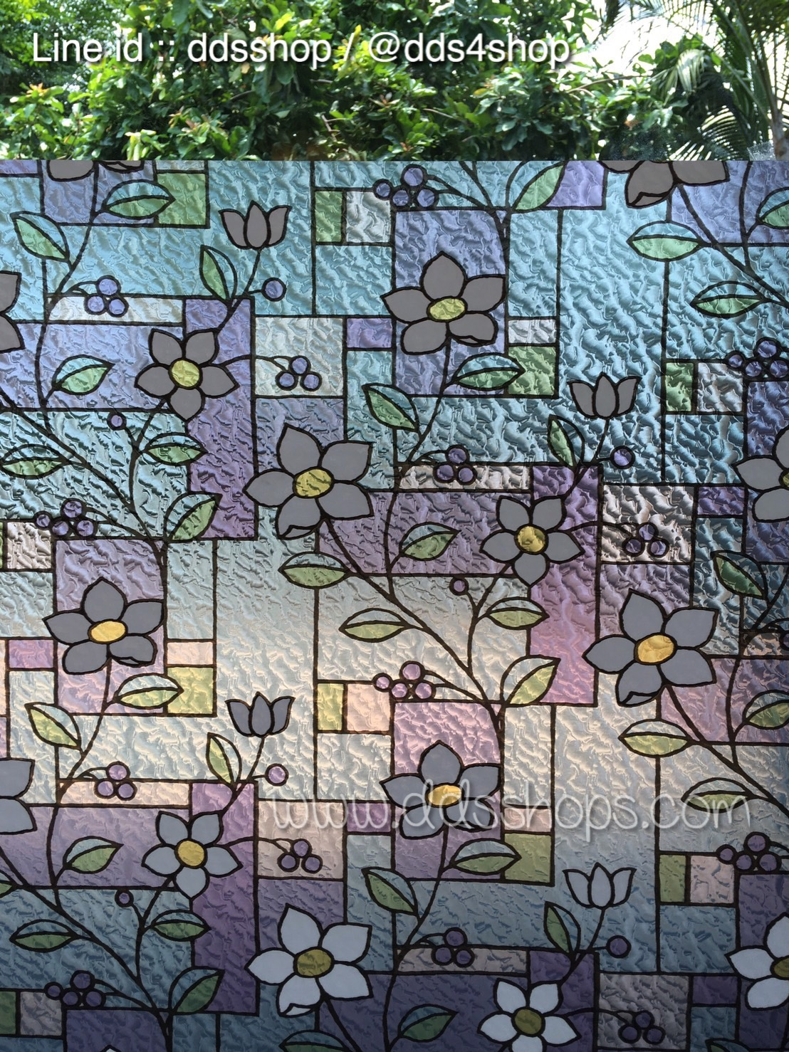 "PVC สูญญากาศติดกระจก ""Nice Flower III"" หน้ากว้าง 90 cm ราคาต่อเมตร 250 บาท"