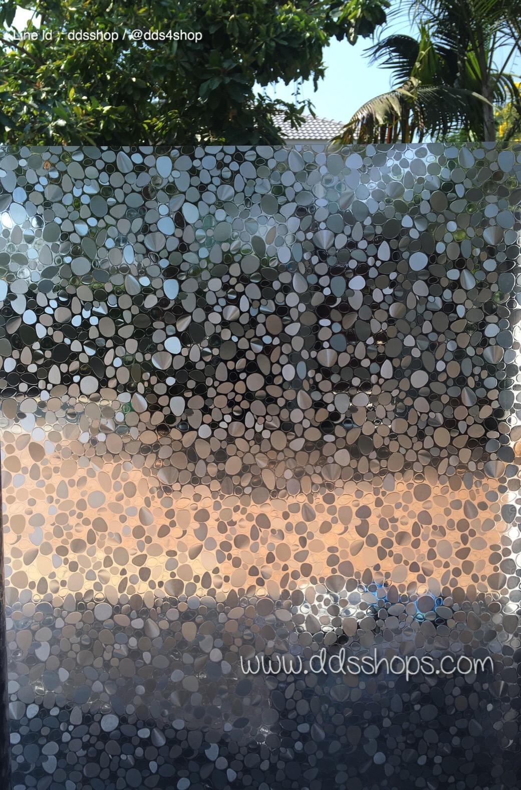 """PVC สูญญากาศติดกระจก """"หินกรวด"""" หน้ากว้าง 90 cm ราคาต่อเมตร 270 บาท"""