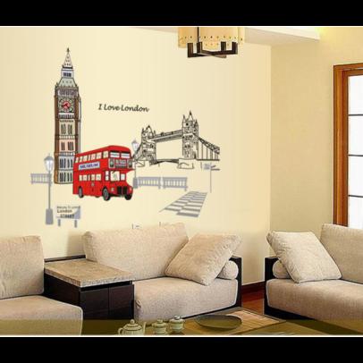 """สติ๊กเกอร์ตกแต่งผนังเมืองท่องเที่ยว """"LONDON"""" ความสูง 90 cm ความกว้าง 105 cm"""