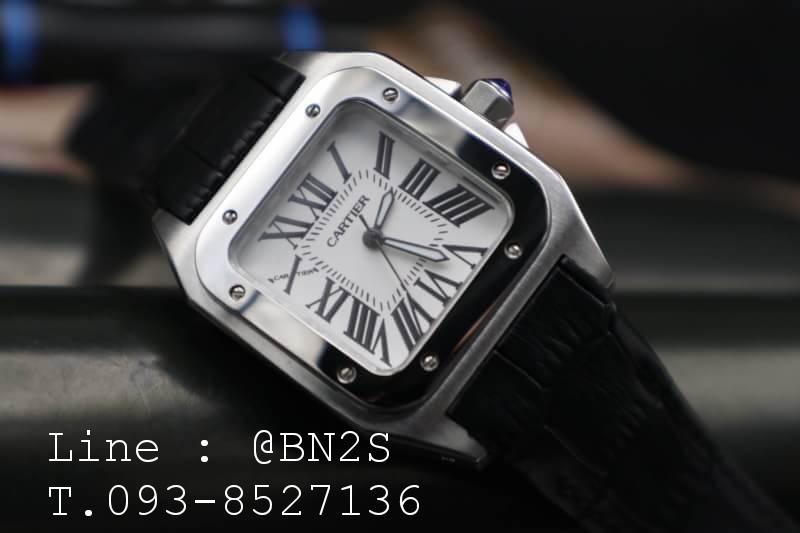Cartier Santos 100 Watch มีกล่องหนัง พร้อมอุปกรณ์