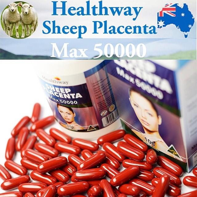Healthway Sheep Placenta MAX 50000 mg. รกแกะเม็ดเข้มข้นผิวพรรณกระจ่างใส อ่อนเยาว์ ชะลอวัย บรรจุ 100 เม็ด จากออสเตเลีย