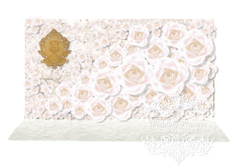 Package Photo Backdrop ดอกไม้กระดาษเต็มฉาก - เช่าฉากถ่ายภาพงานแต่งงานโทนสีขาว ยาว4เมตร