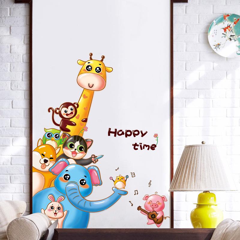 """สติ๊กเกอร์ติดผนัง """"Cartoon Animals"""" ความสูง 105 cm ความกว้าง 80 cm"""