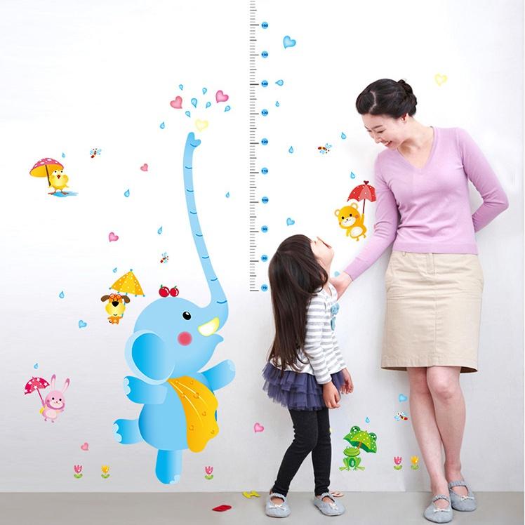 """สติ๊กเกอร์ติดผนังที่วัดส่วนสูง """"ที่วัดส่วนสูง Cute Blue Elephant ช้าง"""" สเกลเริ่มต้น 70 cm ถึง 180 cm"""