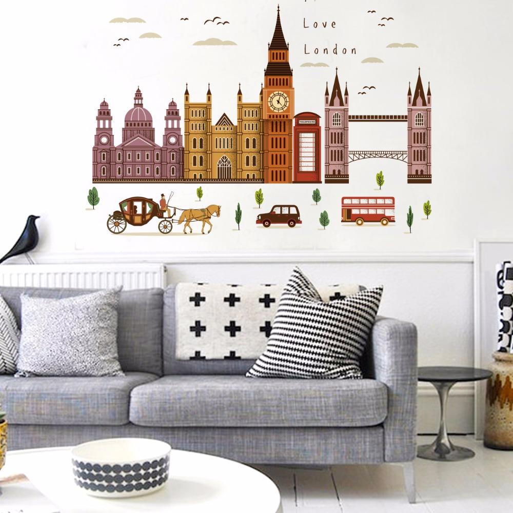 """สติ๊กเกอร์ติดผนังลายเมือง """"London"""" ความสูง 90 cm ความยาว 120 cm"""